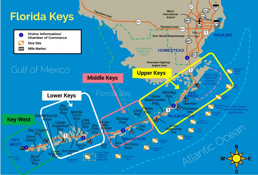 The Map Of Florida.Map Of The Florida Keys With Mile Markers Cvflvbp